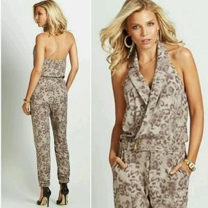 GUESS  Sexy Animal Print Halter Jumpsuit Pockets